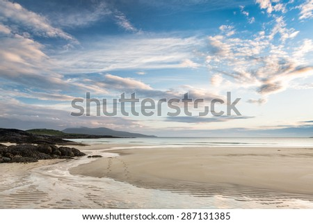 View on Horgabost beach on the Isle of Harris, Outer Hebrides, Scotland - stock photo