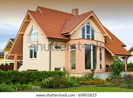 View on house with the garden - stock photo