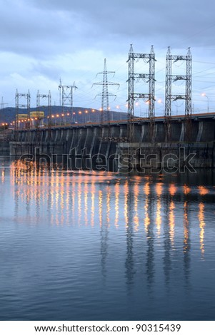 View on hydroelectric power station - stock photo
