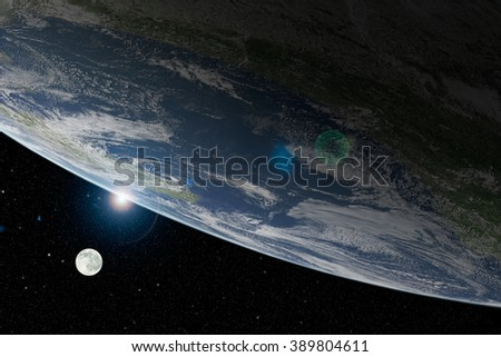 View on illuminated beautiful planet Earth from space and sunset over cloudy ocean with moon and stars in the sky. Elements of this image furnished by NASA. - stock photo