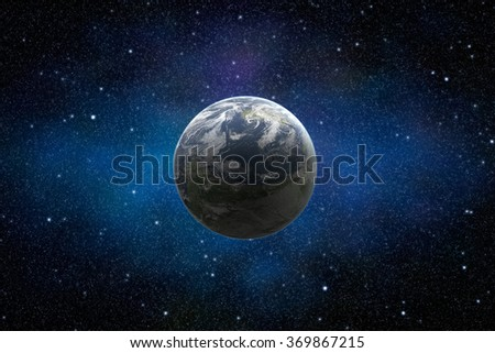 View on illuminated beautiful planet Earth from space with stars and dust in the sky. High resolution photo. Elements of this image furnished by NASA.