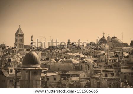View on Jerusalem Old city, vintage photo effect - stock photo