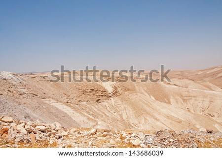 View on Judean desert landscape in West Bank not far from Qedar. Palestine, Israel.   - stock photo
