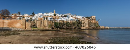 View on Kasbah of the Udayas from the quay of Bou Regreg river in Rabat, Morocco.