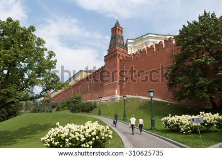View on Kremlin castle August 13, 2015 in Moscow, Russia