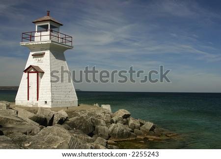 View on lighthouse, northern Ontario, horizontal. - stock photo