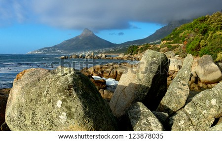 View on Lion's Head from Camps Bay - South Africa - stock photo