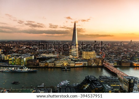 View on London at sunset, vibrant sky. - stock photo