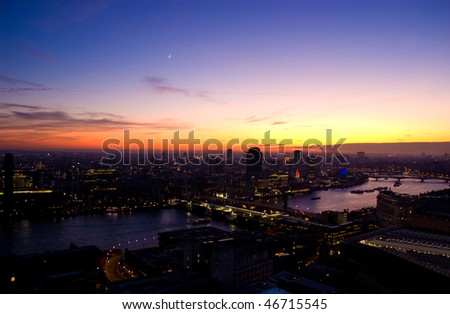 View on London city and landmarks by night