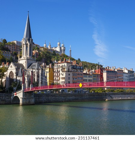 View on Lyon and Saone river with boat, France - stock photo