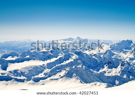 View on main mountain ridge caucasus. - stock photo