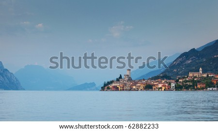 View on Malcesine and nord part of Garda lake, Italy - stock photo