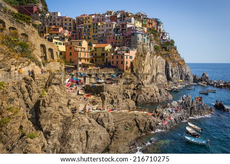 View on Manarola, one of the five villages also known as Cinque Terre that are part of UNESCO World Heritage located in the provice of Liguria Italy - stock photo