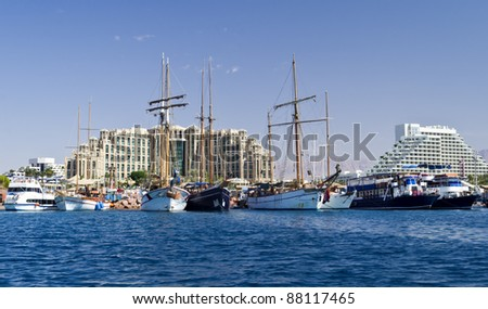 View on marina and resort hotels in Eilat, Israel - stock photo