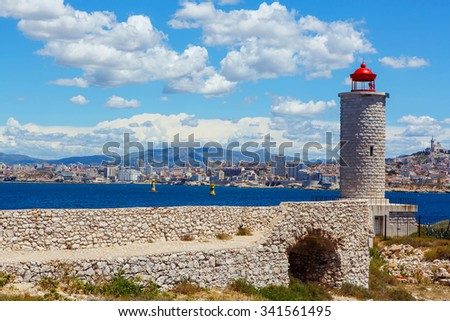 View on Marseille from Chateau d'If,  France. On sunny warm day in Provence. - stock photo