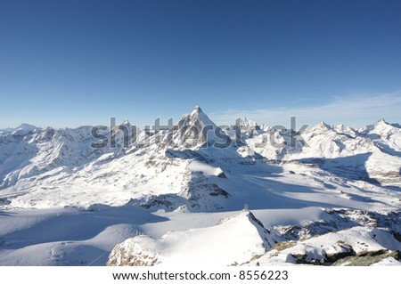View on Matterhorn from Kleinmatterhorn in winter