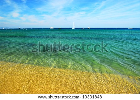 View on Mediterranean sea from famous Pampelonne beach near St. Tropez in French Riviera - stock photo