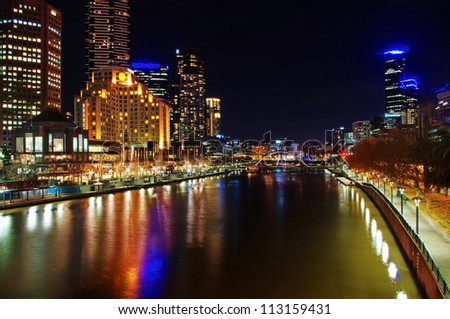 view on Melbourne City at night - stock photo