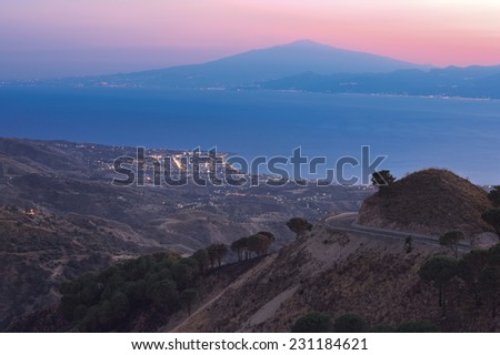 View on Messina strait from Aspromonte after sunset, HDR - stock photo