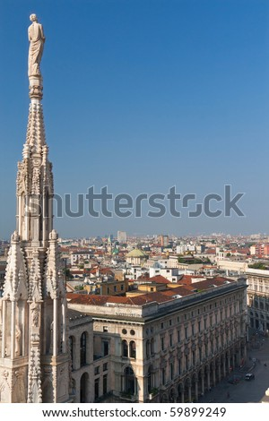 view on Milan in Italy from the Duomo Cathedral - stock photo