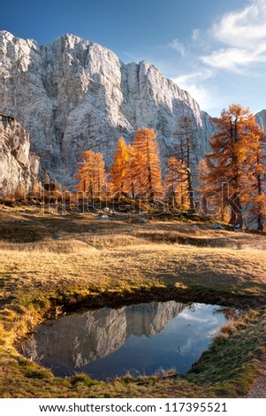 View on Mojstrovka from Sleme in Julian Alps in Slovenia. - stock photo