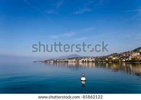 View on Montreux coastline from Geneva lake, Switzerland - stock photo