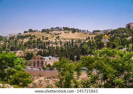 View on Mount of Olives in Jerusalem, Israel - stock photo