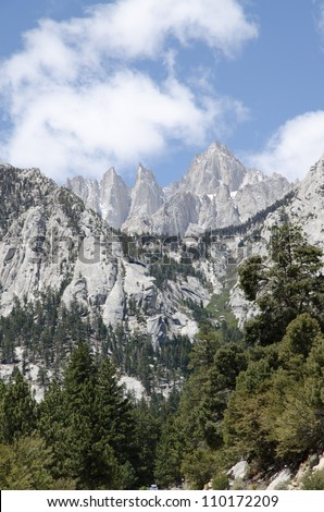 View on Mount Whitney on the way to the highest summit in California and contiguous USA - stock photo