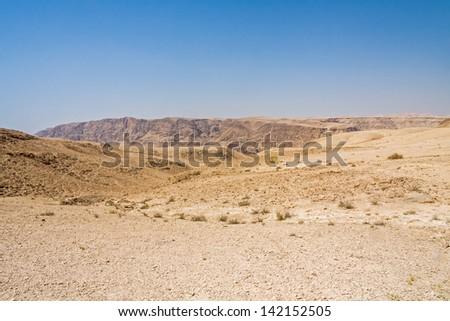 View on mountain landscape in Judean desert. Metzoke Dragot, Israel.  - stock photo