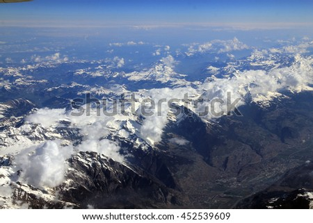 View on mountains, covered by snow