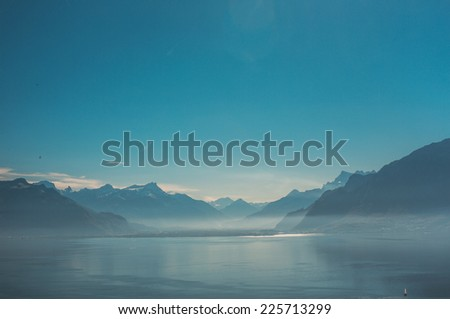 View on mountains in Switzerland - stock photo