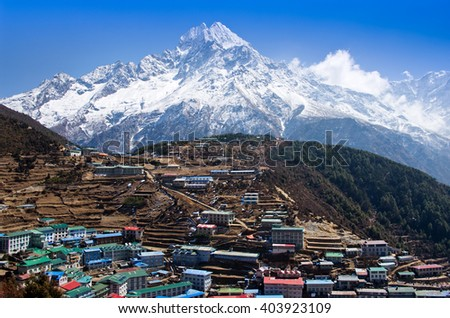 View on Namche Bazar in  Khumbu district, Himalayas, Nepal  - stock photo