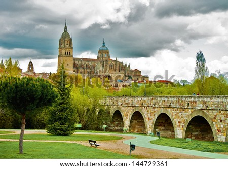 View on New Cathedal in Salamanca, Spain - stock photo