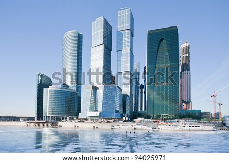 view on new Moscow City buildings in winter - stock photo