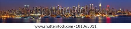 View on night Manhattan, New York - stock photo