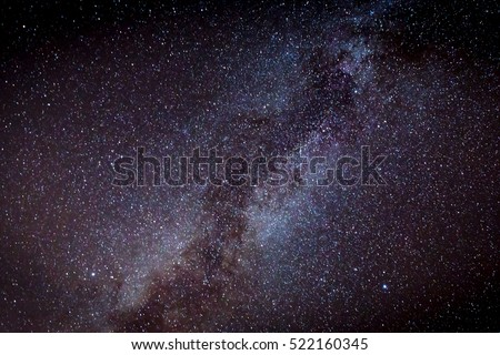 View on night sky with Milky Way Galaxy