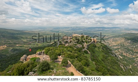 View on Nimrod fortress on top - stock photo