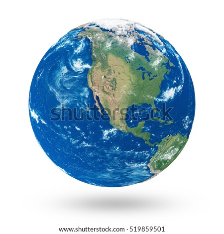 View on North America. Earth Planet Isolated on white background. Elements of this image furnished by NASA. 3D Rendering