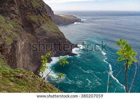 View on north-west cape of Tenerife island from Mirador de la Monja, Spain - stock photo