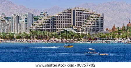 View on northern beach of Eilat - famous resort and recreation city of Israel - stock photo