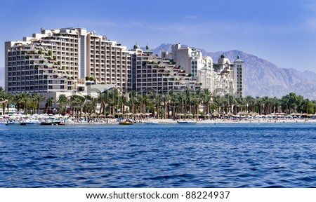 View on northern beach of Eilat – famous resort and recreation town of Israel - stock photo