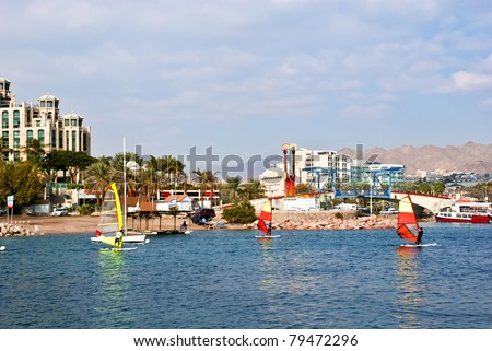 View on northern beach of Eilat - famous resort city of Israel - stock photo