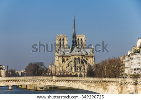 View on Notre Dame over river in Paris, France - stock photo