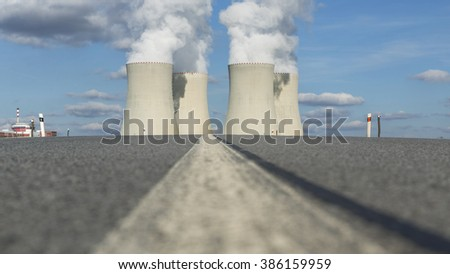 View on Nuclear power plant Temelin in the Czech Republic from backround. - stock photo