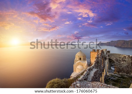 View on Oia in Santorini Greece - stock photo