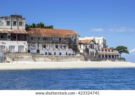 View on old buildings of Stone Town, Zanzibar Tanzania, at waterfront