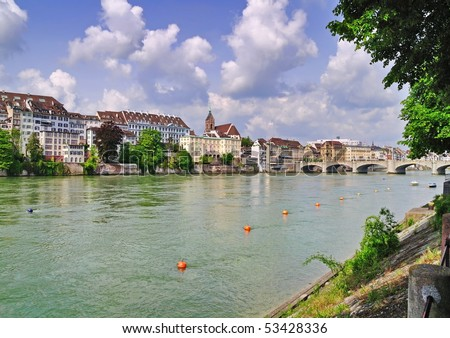 View on old part of Basel,Switzerland - stock photo