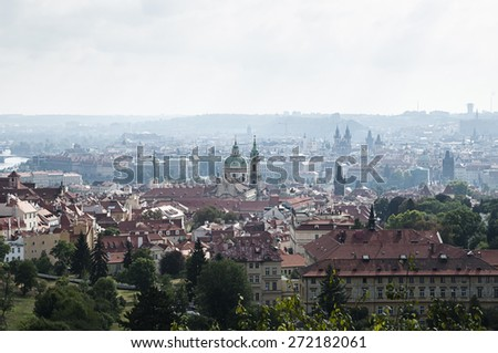 View on old Prague from the hill