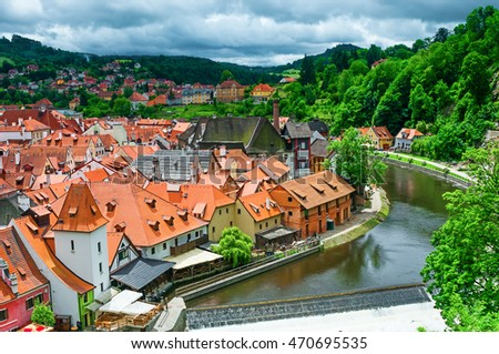 View on old town Cesky Krumlov and Vltava river, Czech Republic