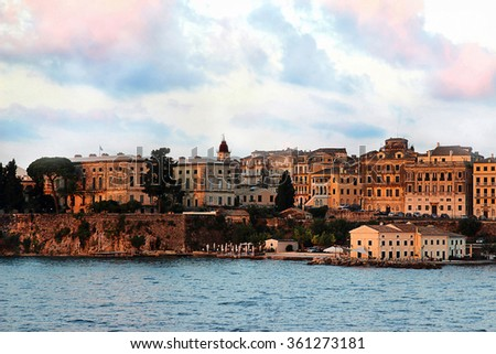 View on old town from the ionian sea. Sunrise over the old city